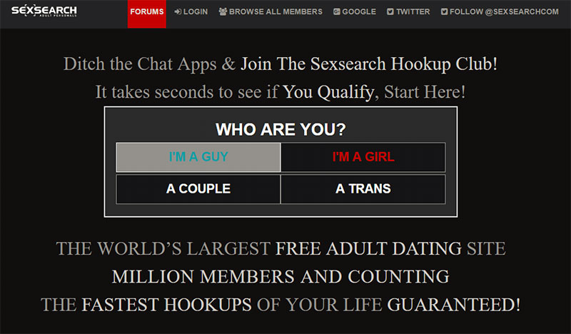 Sexsearch screenshot
